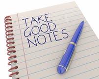 Tome las buenas notas Pen Writing Words Remember Facts Fotografía de archivo libre de regalías