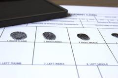 Tome las huellas dactilares la tarjeta Imágenes de archivo libres de regalías