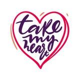 Tome minha frase do coração Casamento e Valentine Hand Written Lettering ilustração royalty free