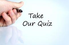 Tome nosso conceito do texto do questionário imagens de stock royalty free