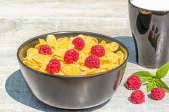 Tome o café da manhã no jardim com flocos de milho e framboesas, fim Fotos de Stock