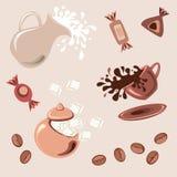 Tome o pequeno almoço com café, leite fresco e doces Fotos de Stock
