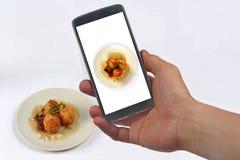 Tome ovos cozidos fritados foto com molho do tamarindo para a parte Imagem de Stock Royalty Free
