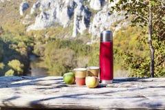 Tome parte num piquenique na montanha alta com garrafa térmica, café e as maçãs vermelhos Fotografia de Stock Royalty Free