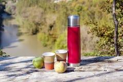 Tome parte num piquenique na montanha alta com garrafa térmica, café e as maçãs vermelhos Fotografia de Stock