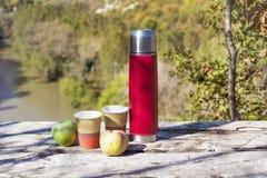 Tome parte num piquenique na montanha alta com garrafa térmica, café e as maçãs vermelhos Fotos de Stock Royalty Free