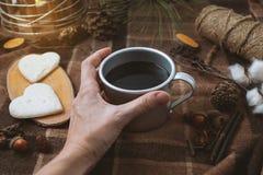 Tome parte num piquenique na natureza, nas mãos que guardam um copo do café preto, na manta e nos corações Fotos de Stock