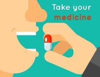 Tome seu conceito da medicina A pessoa põe a tabuleta dentro Imagem de Stock Royalty Free