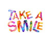 Tome um sorriso Inscrição inspirador Foto de Stock Royalty Free