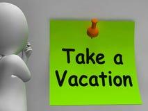 Tome um tempo de meios da nota das férias para o feriado ilustração stock