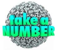 Tome uma fila da volta de Patinence da espera da esfera da bola das palavras do número Fotos de Stock Royalty Free