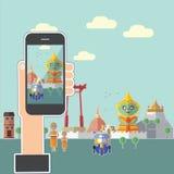 Tome uma foto Banguecoque Tailândia com meu telefone Fotografia de Stock
