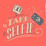 Tome un cartel del selfie Imagenes de archivo