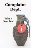 Tome una granada de mano del número Imagen de archivo