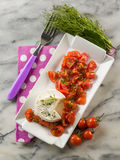 Tomino cheese with pachino tomatoes Royalty Free Stock Photo