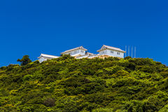 Tomioka Castle on the hill in Amakusa, Kumamoto, Japan.  royalty free stock photo