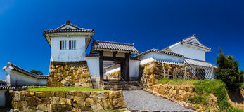 Tomioka Castle on the hill in Amakusa, Kumamoto, Japan.  royalty free stock images