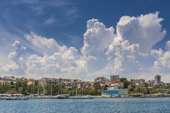 Tomis touristic port, Constanta, Romania. Scenic summer view with heavy cumulus clouds over the Tomis touristic seaport on the shore of the Black Sea, Constanta Stock Image