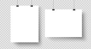 Tomma affischer för vit som hänger på limbindningar Sida för papper A4, ark på väggen Vektormodell royaltyfri illustrationer