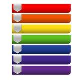 Tomma baner för band för Infographics färgrika regnbågepapper på whit Arkivbilder
