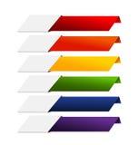 Tomma baner för band för Infographics färgrika regnbågepapper på whit Royaltyfri Bild