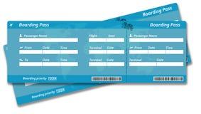 Tomma biljetter för flygbolaglogipasserande Fotografering för Bildbyråer