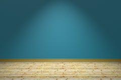 Tomma blått hyr rum och trägolvet under lampan royaltyfri illustrationer
