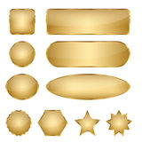 Tomma eleganta guld- vektorrengöringsdukknappar Royaltyfri Bild