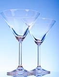 tomma exponeringsglas martini två Royaltyfri Foto