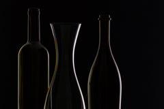 Tomma exponeringsglas och flaskor Arkivbilder