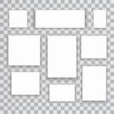 Tomma för för papperskanfas eller foto för vit 3d ramar på genomskinlig bakgrund också vektor för coreldrawillustration Arkivfoto