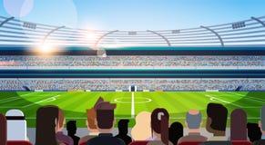 Tomma fotbollsarenafältkonturer av fans som väntar den horisontallägenheten för bakre sikt för match royaltyfri illustrationer