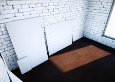 Tomma gemmar för vit på tegelstenrum framförande 3d stock illustrationer