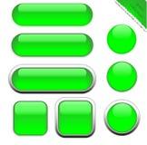 Tomma gröna rengöringsdukknappar Fotografering för Bildbyråer