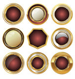 Tomma guld- metallemblem Fotografering för Bildbyråer
