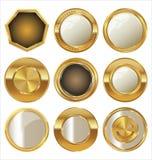 Tomma guld- metallemblem Arkivbild