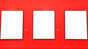 Tomma målningramar på den röda väggen Arkivbilder