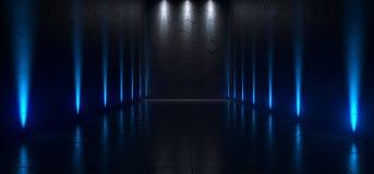Tomma mörka futuristiska Sci Fi stora Hall Room With Lights And Refel vektor illustrationer