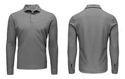 Tomma mallmäns grå sikt för muff, för framdel och för baksida för skjorta för polo lång, vit bakgrund Designtröjamodell för tryck arkivbilder