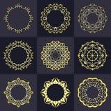 Tomma monogramdesignbeståndsdelar, behagfull mall Elegant linje konstlogodesign emblem Retro tappninggradbeteckning eller Royaltyfri Fotografi