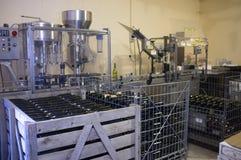 Tomma och fyllda vinflaskor framme av den buteljera utrustningen arkivfoto