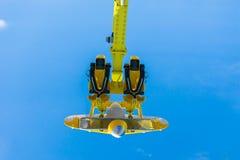 Tomma platser av en gul hjälpmotor Fotografering för Bildbyråer