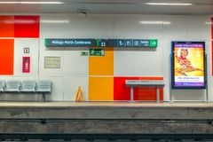 Tomma platser i gångtunnelstationen Royaltyfri Foto