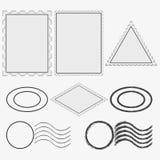 Tomma portostämplar och printing Tappningpoststämpelram vektor royaltyfri illustrationer
