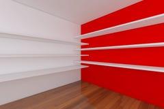 tomma röda lokalhyllor Fotografering för Bildbyråer