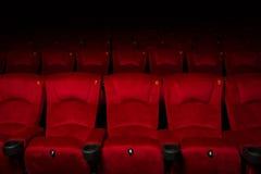 Tomma rader av röda teater- eller filmplatser Arkivfoto