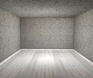 Tomma rumtegelstenväggar, golv Arkivfoton
