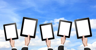 Tomma tablets med naturbakgrund Royaltyfri Fotografi