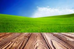 Tomma tegelplattor på trätabellandskapet med grönt gräs och blå himmel med moln på lantgården i solig dag för härlig sommar Rengö royaltyfri foto