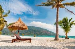 Tomma trästrandstolar på stranden med kokospalmen Arkivbilder